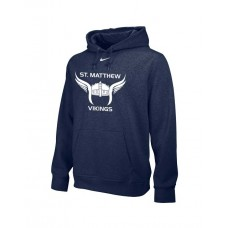 St. Matthew Track 11: Adult-Size - Nike Team Club Men's Fleece Training Hoodie - Logo on Front & Wings on Hood